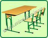 Стол дошкольный + 2 стула с регулировкой по высоте