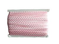 Резинка-бейка Розовая в серебряный горох 1.5 см/1 м