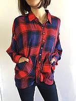 Рубашка женская клетчатая красно-синяя 7675