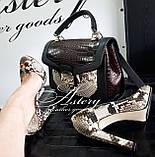 Жіночі сірі туфлі з пітона з відкритим носком, фото 4