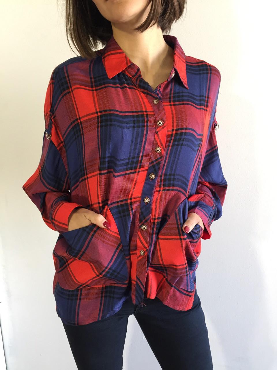 9d7713172a9 Рубашка женская клетчатая красно-синяя 7665 - купить по низкой цене ...