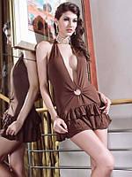 Платье с глубоким вырезом коричневого цвета