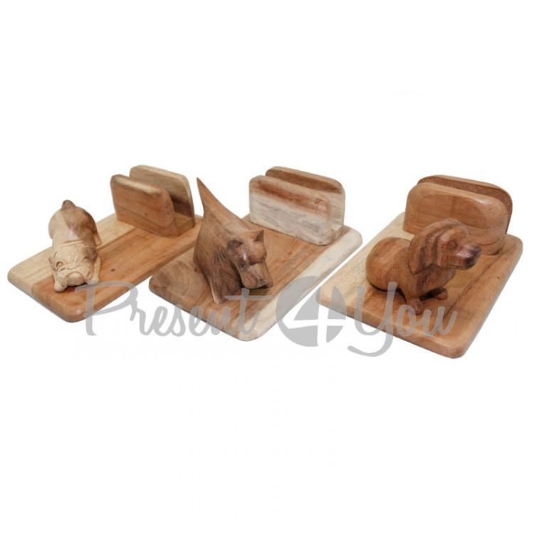 Деревянная визитница с собачкой (в асортименте), h-8х12х18 см (16000e)