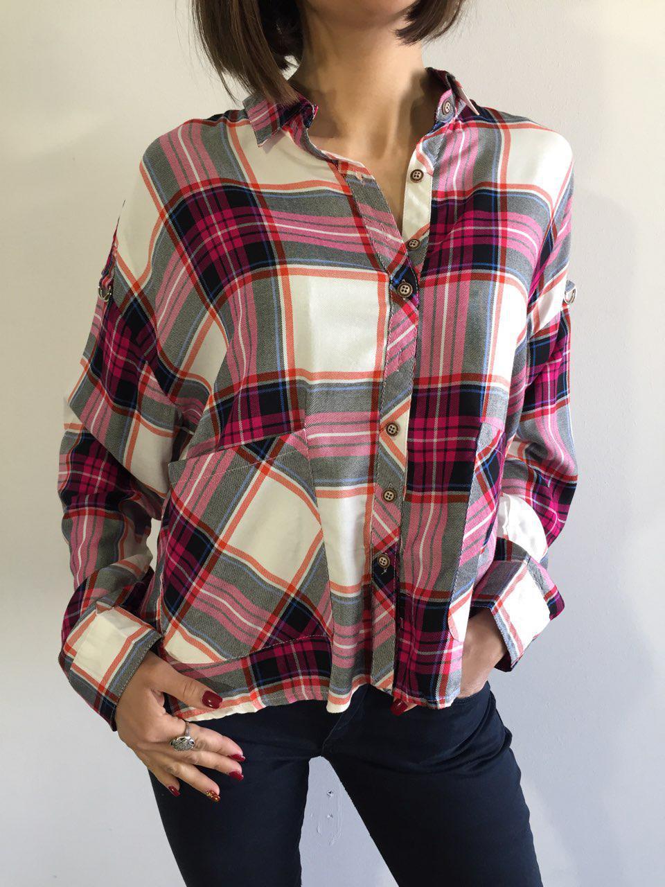 60cae9dd421 Рубашка женская клетчатая бело-розовая 7665 - купить по низкой цене ...