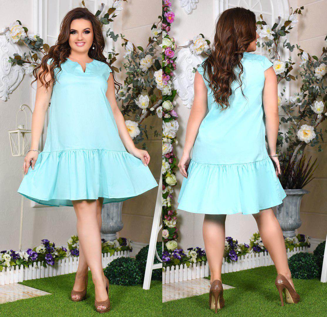Летнее платье больших размеров 46+ свободного кроя   / 3 цвета арт 5118-217