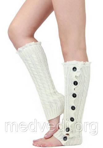 Белые гетры на сапоги, вязаные теплые гетры на пуговицах