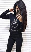 Спортивный костюм на флисе корона. Размеры: 42-44, 44-46. Цвет черный, красный