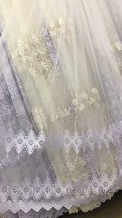 Нежная фатиновая тюль с вышивкой по низу №361, фото 2