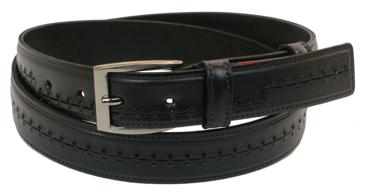 Мужской кожаный ремень под брюки Skipper 1048-35 черный 3,5 см