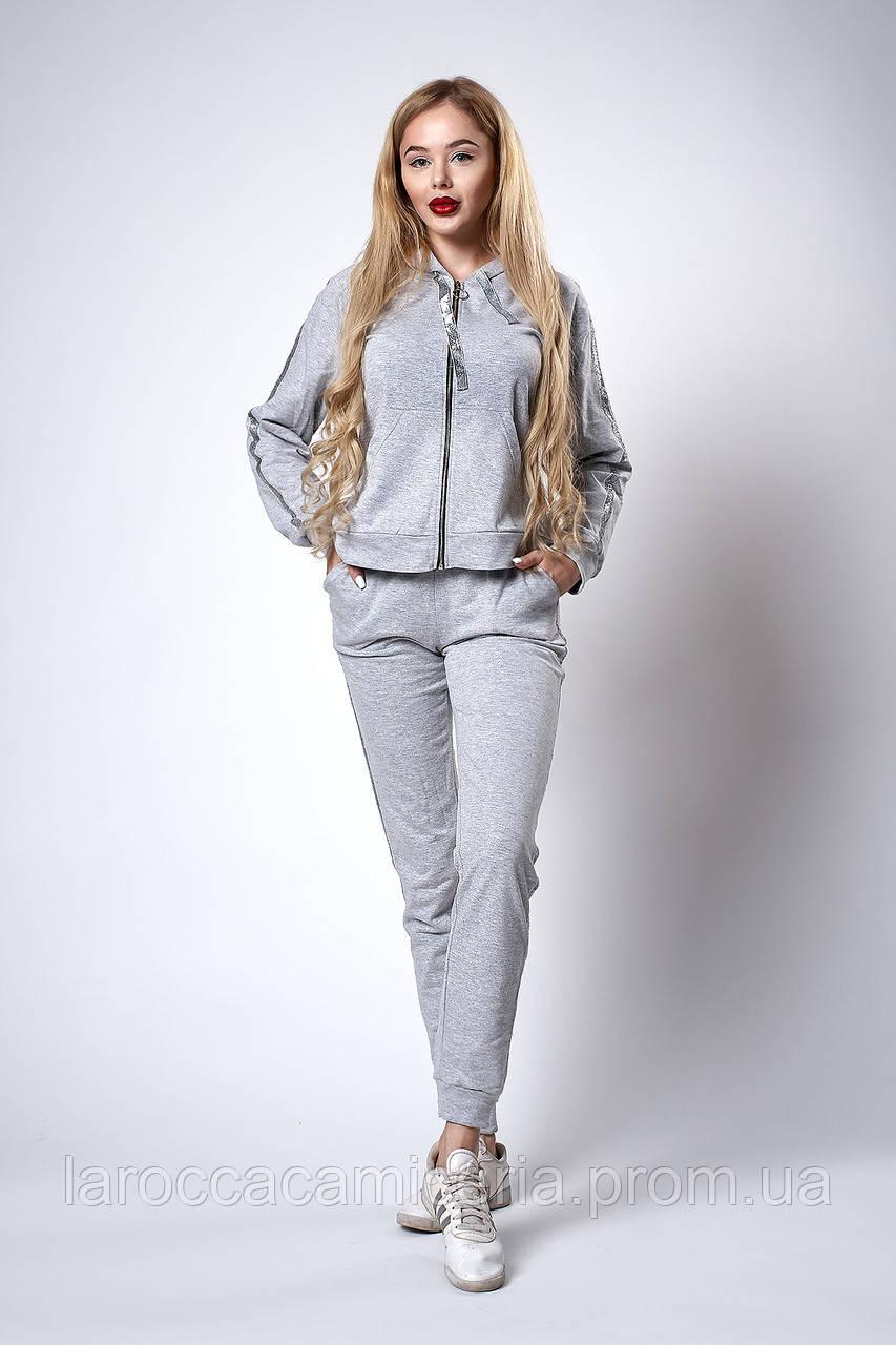 500a0801e70 Женский спортивный трикотажный костюм. Код модели КС-18-46-18. Цвет серый  меланж.