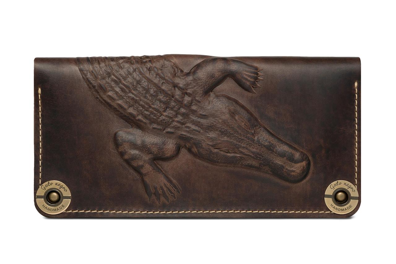 0ef3d20966bd Кожаный кошелек ручной работы Gato Negro Alligator мужской, хаки (мужские  кошельки из натуральной кожи
