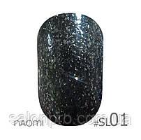Гель-лак Naomi Self Illuminated Colllection №SI-01 (черный с блестками), 6 мл