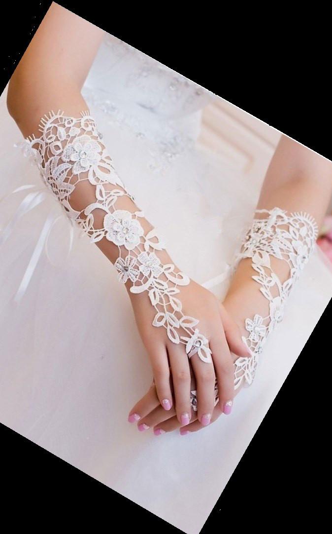 Свадебные перчатки белые из вязаного кружева А-1026