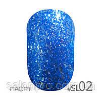 Гель-лак Naomi Self Illuminated Colllection №SI-02 (эффектный синий с блестками и слюдой), 6 мл