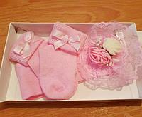 Очень красивый набор для девочки на крещение, на праздник (носочки + повязочка) Турция 0-6 мес.