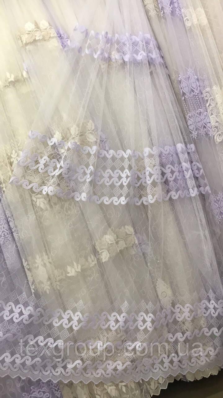 Красивая тюль в нежной вышивкой №851