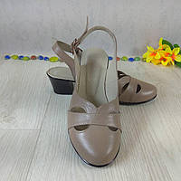 Женские босоножки из натуральной кожи с закрытым носочком, на устойчивом каблуке