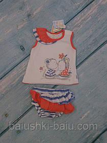 Туника и трусики летние для новорожденного (трикотаж), р. 68-74
