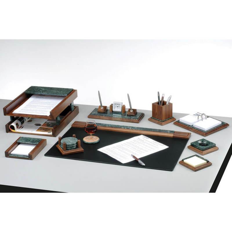Набір настільний канцелярський 9 предметів з натурального дерева та зеленого мармуру 9277 WDN