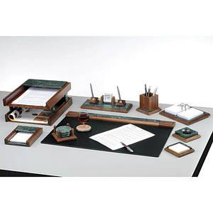 Набор настольный канцелярский  9 предметов из натурального дерева и зеленого мрамора 9277 WDN