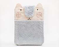 Чехол ручной работы для iphone 7 медведь пушистый серо-розовый