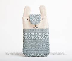 Чехол ручной работы для samsung galaxy note 3 кролик серо-синий узор ткань