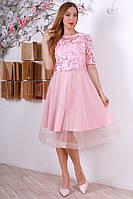 Праздничное женское платье с вышивкой розовое р.46-50 Y320-1