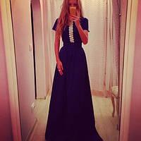Синее платье золотой песок с кружевом
