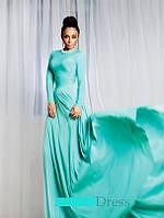 Длинное платье ментол