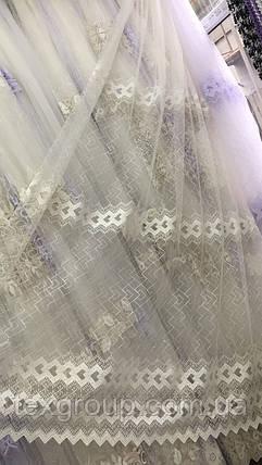 Фатиновая тюль с красивой вышивкой №663, фото 2