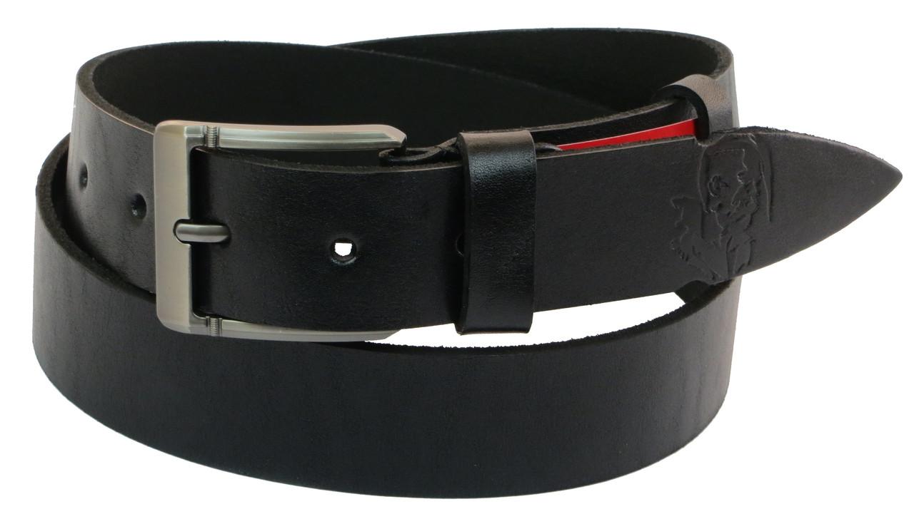 Мужской кожаный ремень под джинсы Skipper 1019-38 черный 3,8 см