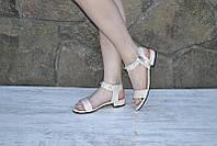 Босоножки низкий ход  сандали черные и беж, фото 1