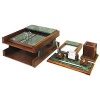 Настольный набор на 5 предметов из натурального дерева и зеленого мрамора Bestar 5247 WDN