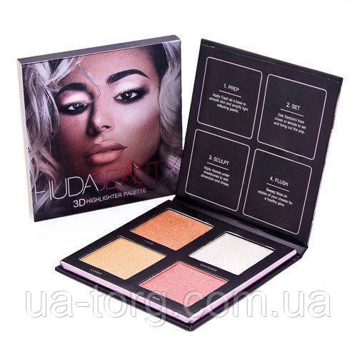 Хайлайтер для лица Huda Beauty highlighter palette (Палитра А)