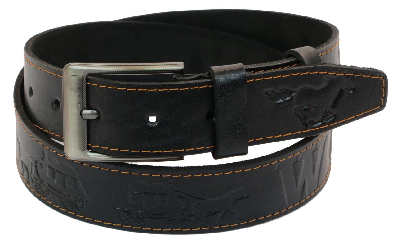 Чоловічий шкіряний ремінь під джинси Skipper 1054-38 чорний 3,8 см