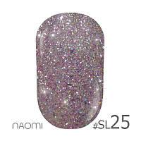 Гель-лак Naomi Self Illuminated Colllection №SI-25 (лиловое серебро с блестками и слюдой), 6 мл
