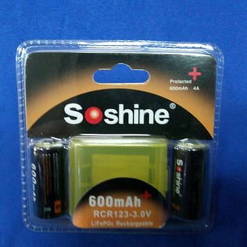 Soshine RCR123P-3.2 3V 0,600Ah Li-Fe +электр (заряд 3,6В) (2шт.)