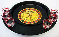 Рулетка с рюмками черная (30х27х6 см)(6 рюмок деревянная подст)
