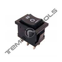Перемикачі клавішні (рокерные) КП-13-220В, 6 контактів, ON-OFF-ON з фіксацією, малий розмір корпусу