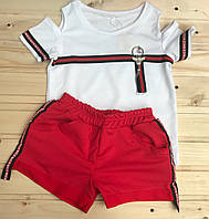 Детский комплект шорты и футболка для девочки 7-12 лет