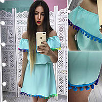 Женское яркое свободное платье с воланом (4 цвета), фото 1
