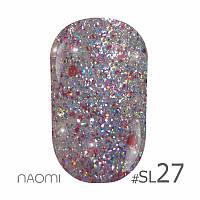 Гель-лак Naomi Self Illuminated Colllection №SI-27 (розовое серебро с блестками, слюдой и конфетти), 6 мл