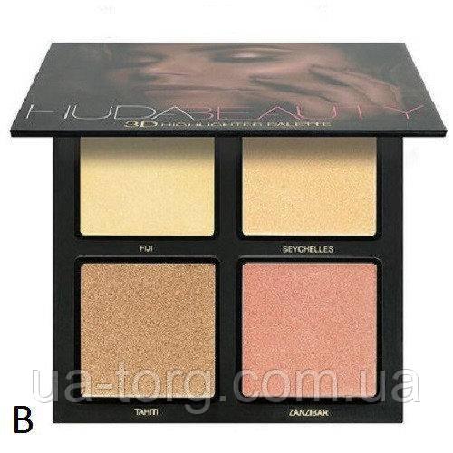 Хайлайтер для лица Huda Beauty highlighter palette  (Палитра В)