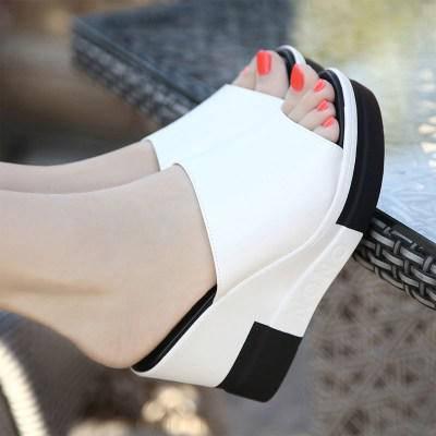 Жіночі шкіряні шльопанці чорно-білі, фото 2