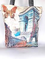 """Женская эко-сумка """"Paris"""" серая с принтом Парижа"""