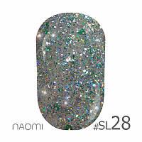 Гель-лак Naomi Self Illuminated Colllection №Sl-28 (светло-зеленый с блестками, слюдой), 6 мл