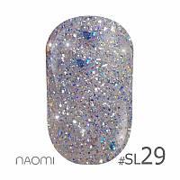 Гель-лак Naomi Self Illuminated Colllection №Sl-29 (серебро с блестками, слюдой и синими конфетти), 6 мл