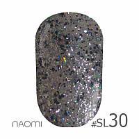 Гель-лак Naomi Self Illuminated Colllection №SI-30 (серебро с блестками, слюдой), 6 мл