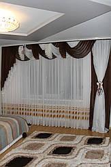 Ламбрекен шифоновый со шторой 3м №126