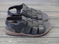 Мужские классические черные босоножки с закрытым носком, фото 1